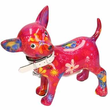 Spaarpot chihuahua hond paars/roze met bloemen print 21 cm