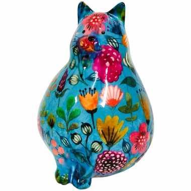 Spaarpot dikke kat/poes blauw met bloemetjes 17 cm