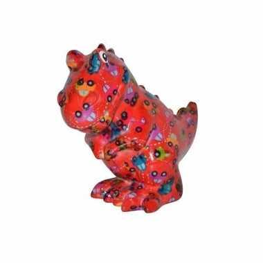 Spaarpot dinosaurus 17 cm rood