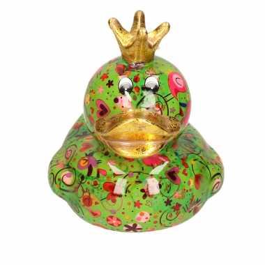 Spaarpot eend met kroontje groen met hartjes/bloemen print 16 cm