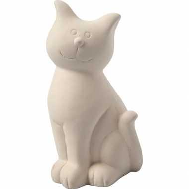 Spaarpot kat wit klei