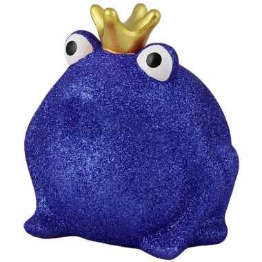 Spaarpot kikker met kroontje blauw glitters 16 cm