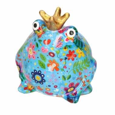 Spaarpot kikker met kroontje blauw met gekleurde bloemetjes 16 cm