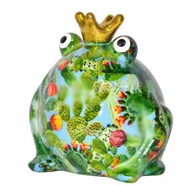 Spaarpot kikker met kroontje groen/lichtblauw 16 cm