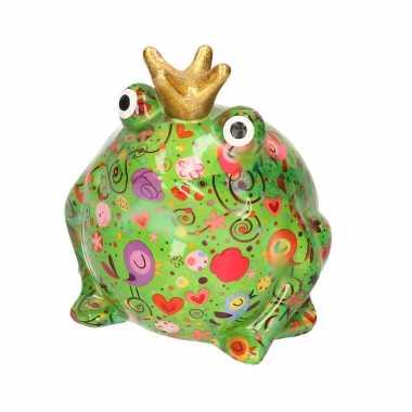 Spaarpot kikker met kroontje groen met vogels bloemen print 16 cm