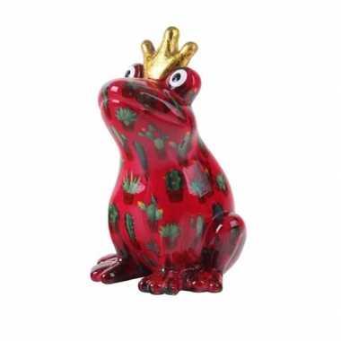 Spaarpot kikker met kroontje rood 22 cm type 1