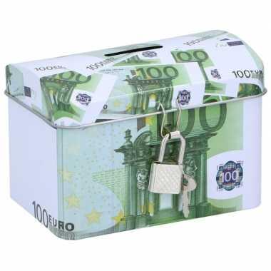 Spaarpot kistje 100 euro biljet 11 x 8 cm