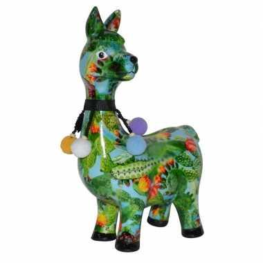 Spaarpot lama/alpaca lichtblauw/groen met cactus print 23 cm