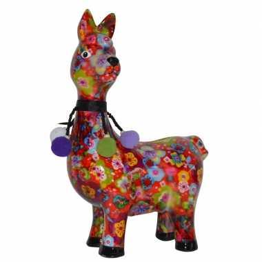Spaarpot lama/alpaca met bloemen print 23 cm