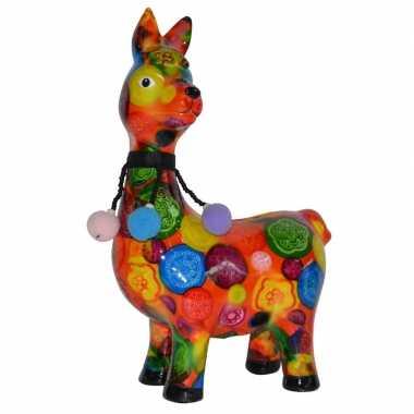 Spaarpot lama/alpaca oranje met print 23 cm