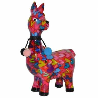 Spaarpot lama/alpaca roze met hartjes print 23 cm