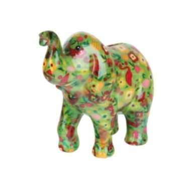 Spaarpot olifant groen met bloemen 20 cm