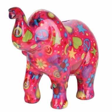 Spaarpot olifant roze 20 cm type 3