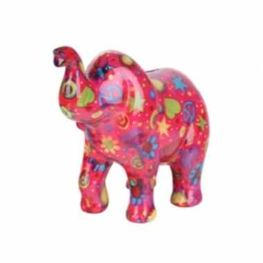 Spaarpot olifant roze met peace teken 20 cm
