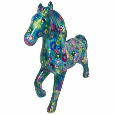 Spaarpot paard 21 cm bloemetjes