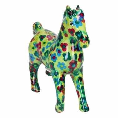 Spaarpot paard 21 cm groen/bloemen