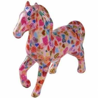 Spaarpot paard 21 cm roze/hartjes