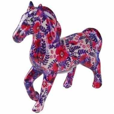 Spaarpot paard 21 cm wit/paars/roze bloemen