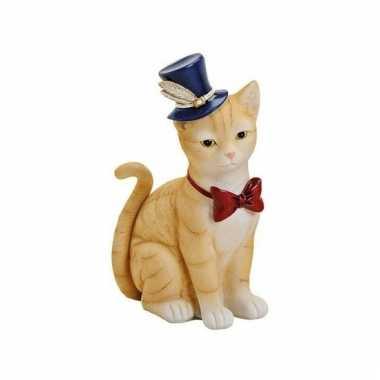 Spaarpot rode kat/poes met hoed en strikje 22 cm