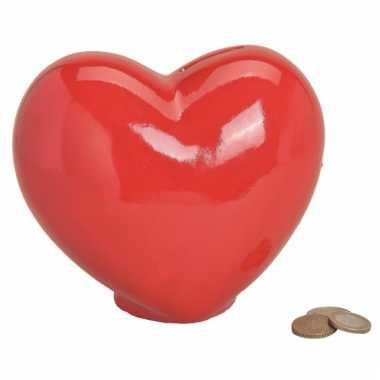 Spaarpot rood hart 16 cm