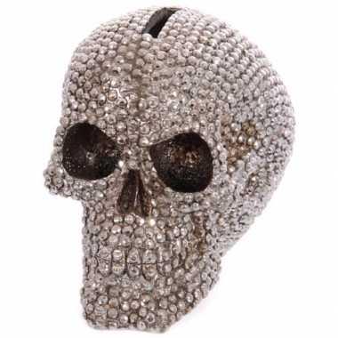 Spaarpot schedel bling 12 cm