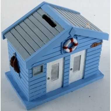 Spaarpot strandhuis blauw 13 cm