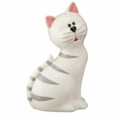 Witte kat met grijze strepen spaarpot 23 cm