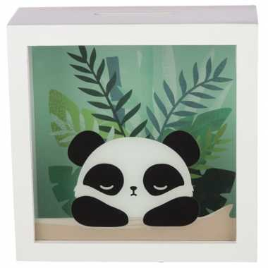 Witte raam spaarpot pandabeer/pandaberen 18 cm