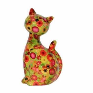 Xl spaarpot kat/poes groen met bloemetjes 30 cm