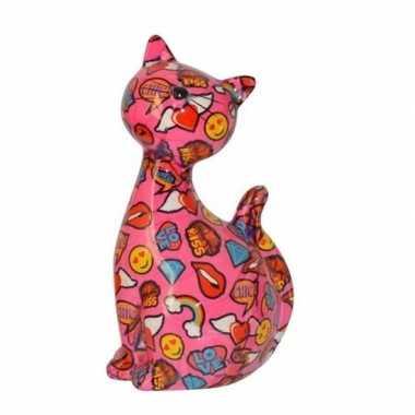 Xl spaarpot kat/poes roze met emojis 30 cm
