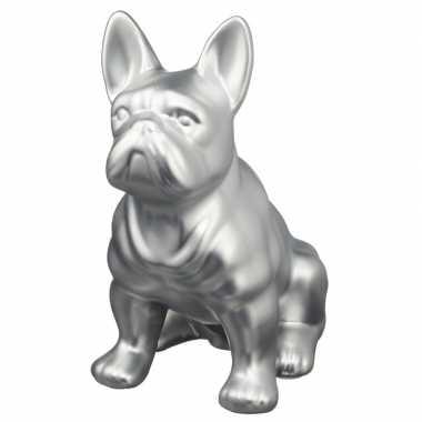 Zilveren franse bulldog honden spaarpot 22 cm