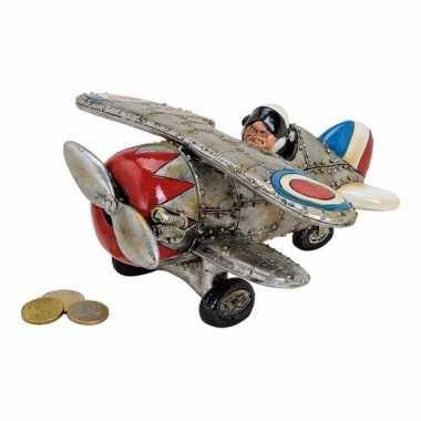 Zilveren vliegtuig spaarpot 22 cm