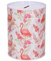 Dieren spaarpot flamingo met planten metaal 12 x 16 cm