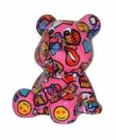 Spaarpot beer roze met met lippen en smiley16 cm