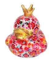 Spaarpot eend met kroontje roze met gekleurde bloemen print 16 cm