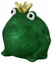 Spaarpot kikker met kroontje groen glitters 16 cm