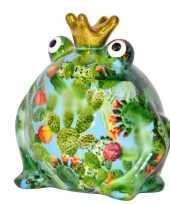 Spaarpot kikker met kroontje groen lichtblauw 16 cm