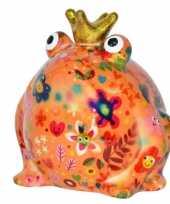 Spaarpot kikker met kroontje oranje 16 cm