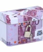 Spaarpot kistje 500 euro biljet 11 x 8 cm