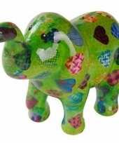 Spaarpot olifant groen met hartjes 20 cm