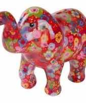 Spaarpot olifant rood met bloemen 20 cm