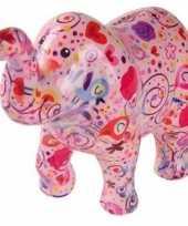 Spaarpot olifant roze met bloemen 20 cm