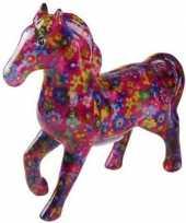 Spaarpot paard 21 cm fuchsia bloemen