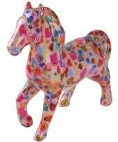 Spaarpot paard 21 cm roze hartjes
