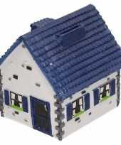 Spaarpot type woonhuis wit met blauw 12 cm
