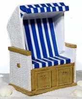 Strandstoel spaarpot blauw wit keramiek